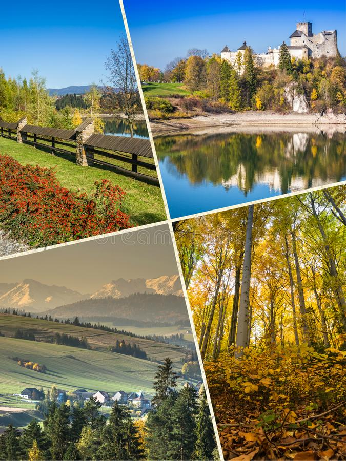 Collage of Pieniny beautiful views of the Mountains Poland. Collage of Pieniny beautiful views of the Mountains Poland royalty free stock photo