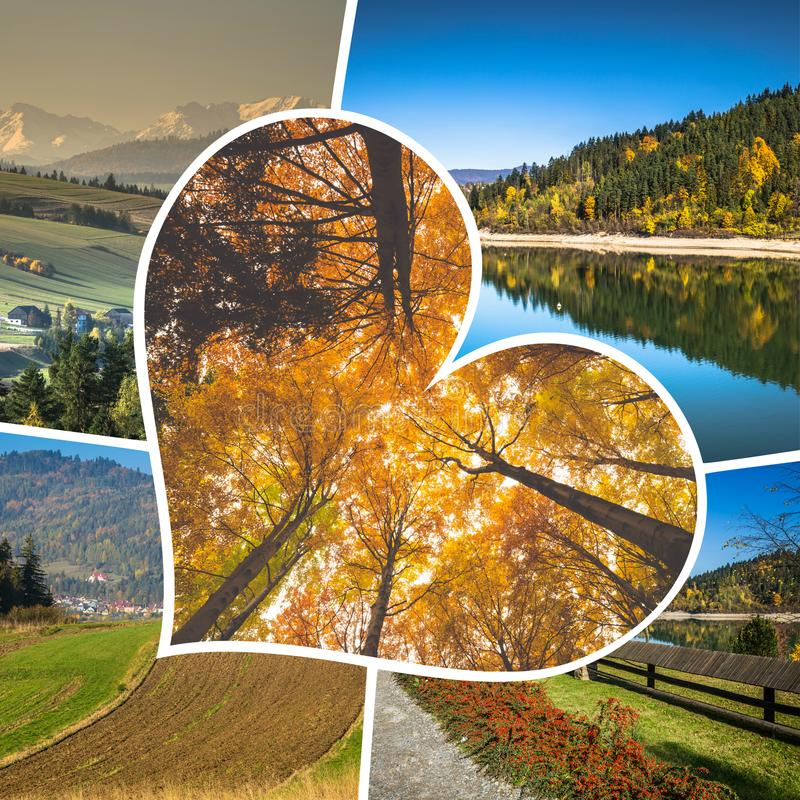 Collage of Pieniny beautiful views of the Mountains Poland. Collage of Pieniny beautiful views of the Mountains Poland stock images
