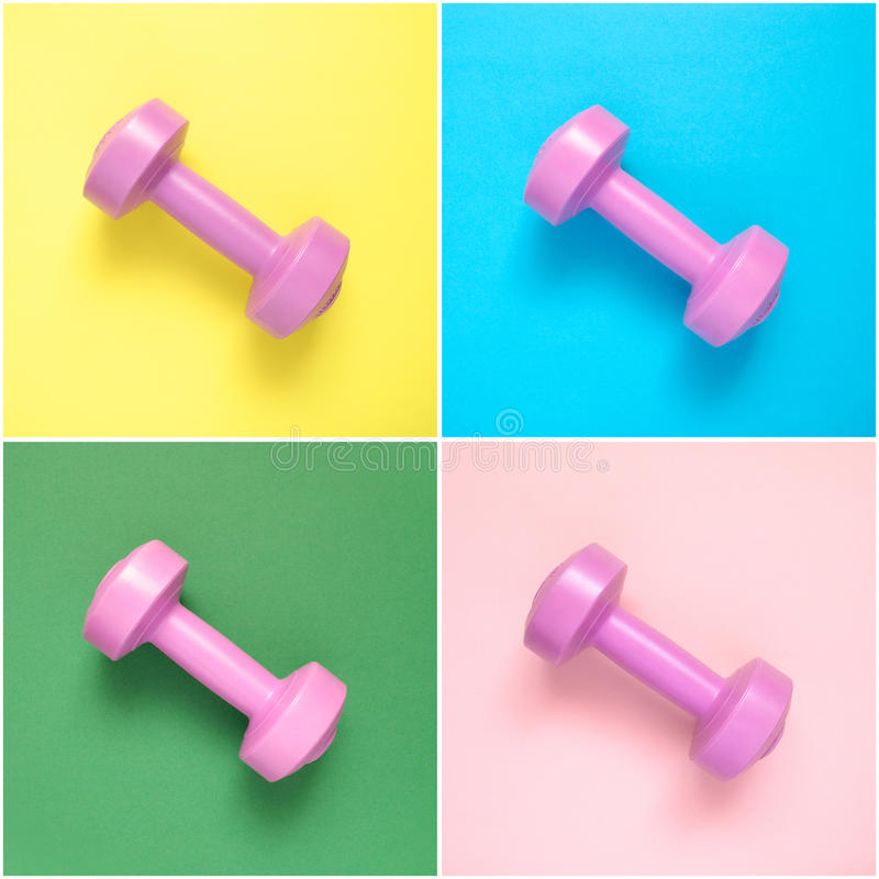 Collage of pink dumbbells royalty free stock images