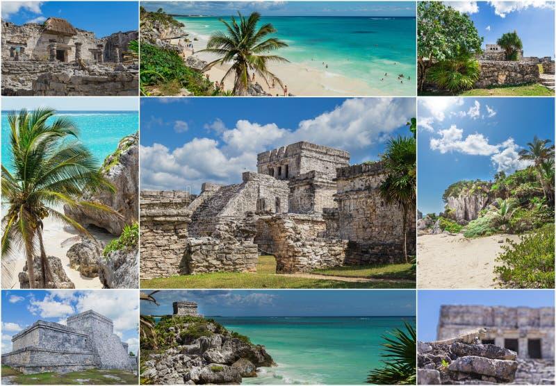 Collage : Plage de Tulum en mer des Caraïbes Ruines de Tulum, temple maya, Tulum, Maya de la Riviera, Yucatan, Mexique photographie stock