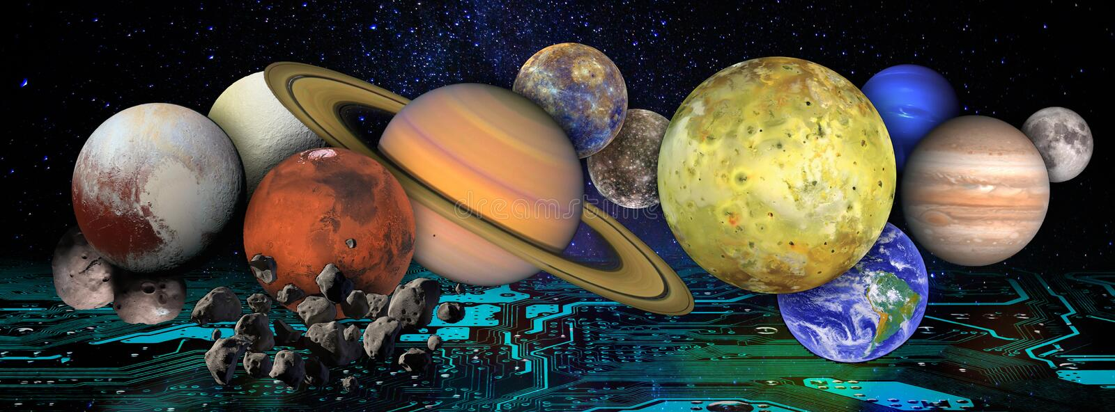 Collage with planets and moons in outer space above the motherboard. Global futuristic information technology concept. vector illustration
