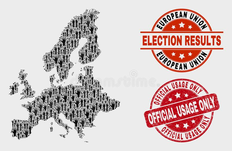 Collage of Poll European Union Map and Distress Official Usage Only Stamp vector illustration