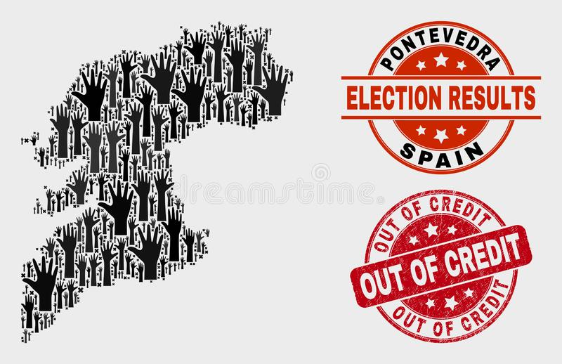 Collage of Poll Pontevedra Province Map and Distress Out of Credit Stamp vector illustration
