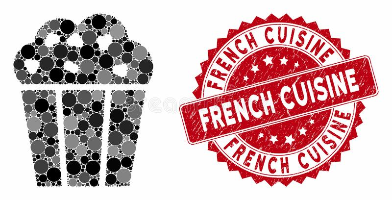 Collage Popcorn Bucket com Grunge French Cuisine Seal ilustração stock
