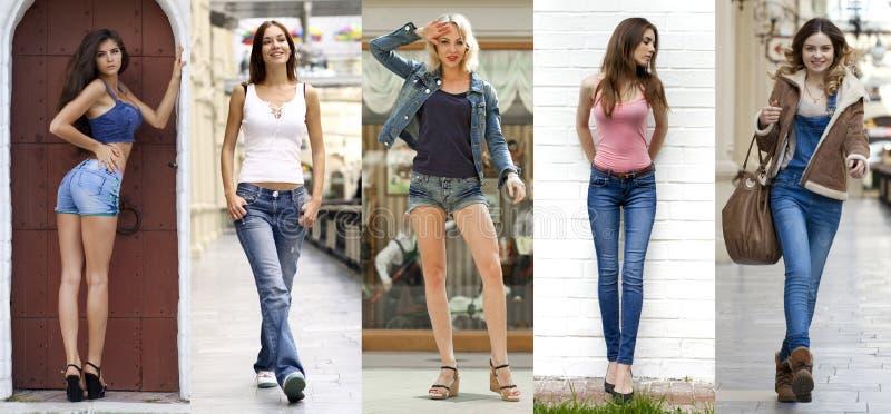 collage Porträt im vollen Wachstum die jungen schönen Mädchen in Querstation lizenzfreie stockfotografie