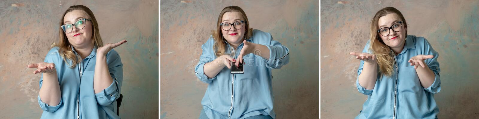 Collage Portraits of attractive plus size woman having emotions wonder with the phone in hand  over colored background. stock photography