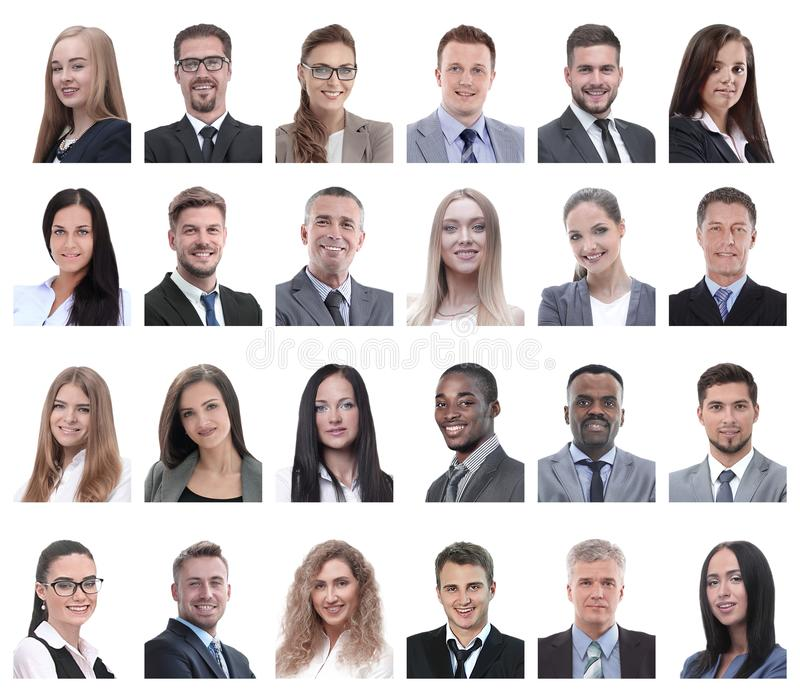 Collage of portraits of business people isolated on white. Background stock photo