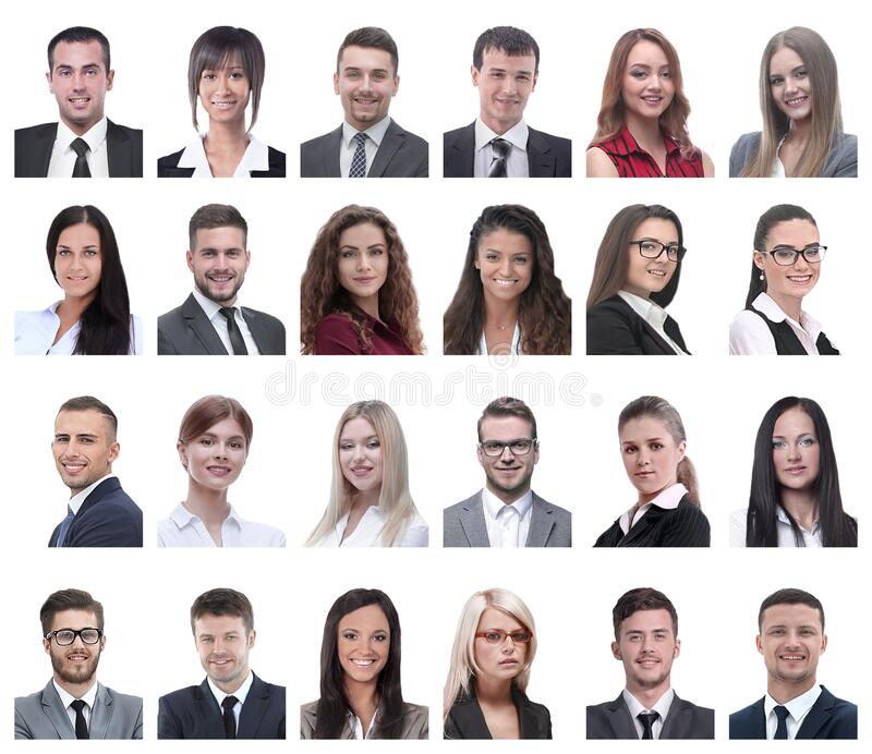 Collage of portraits of business people isolated on white royalty free stock photography