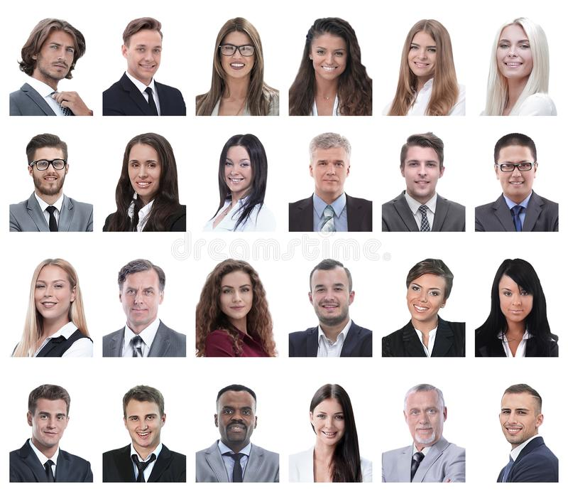 Collage of portraits of business people isolated on white. Background stock images
