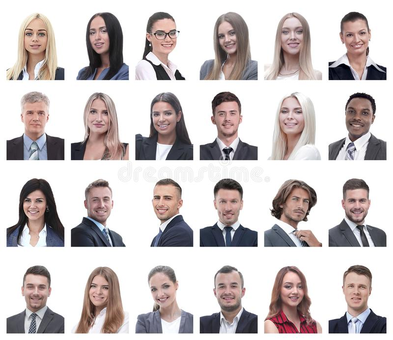 Collage of portraits of business people isolated on white. Background royalty free stock photos