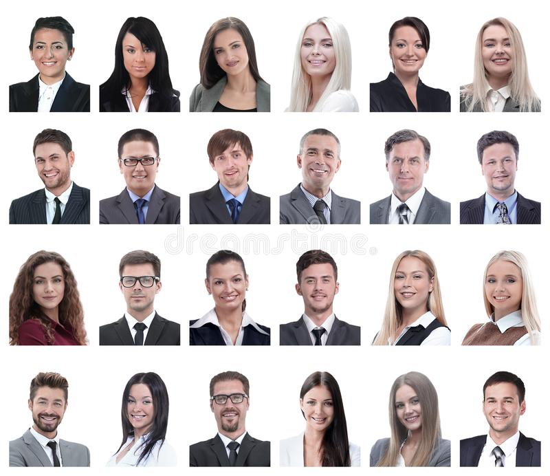Collage of portraits of business people isolated on white. Background royalty free stock photography