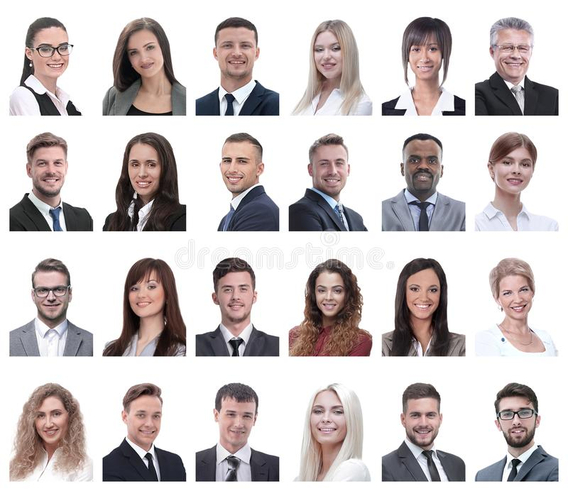 Collage of portraits of business people isolated on white royalty free stock photos