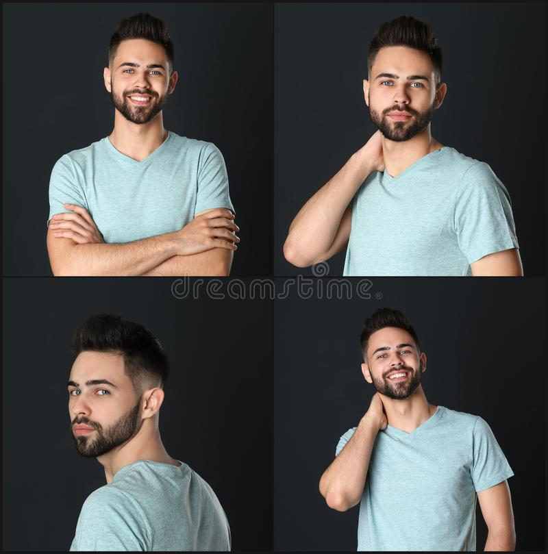 Collage with portraits of handsome man on black royalty free stock images