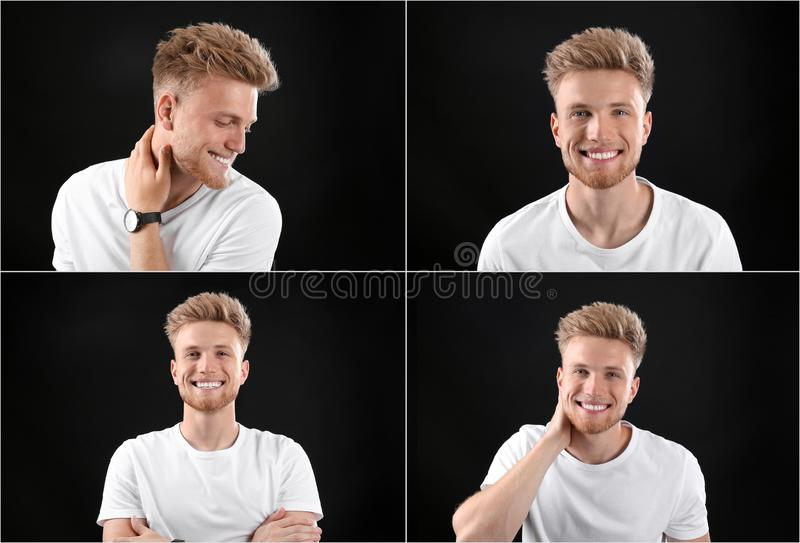 Collage with portraits of handsome man on black stock image