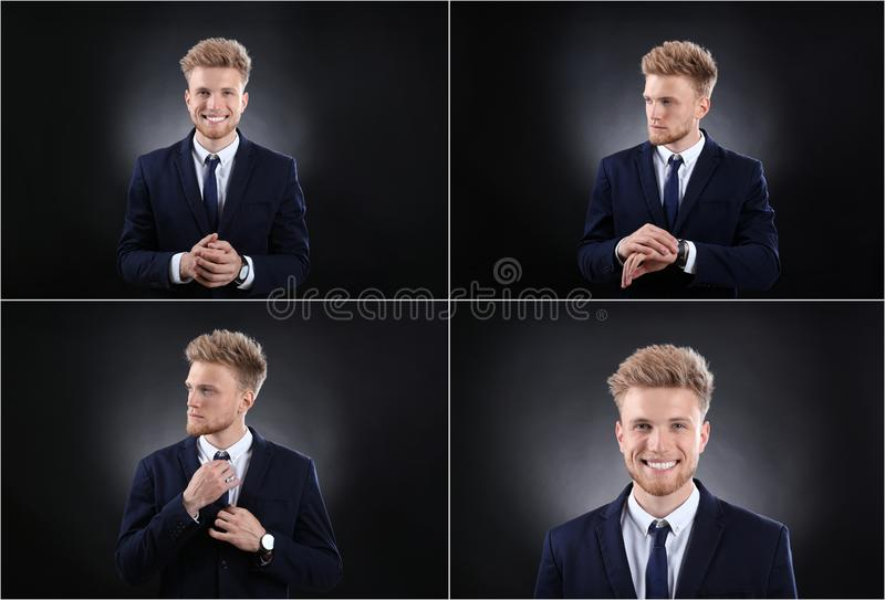 Collage with portraits of handsome man on black royalty free stock photo