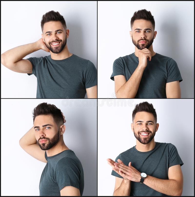 Collage with portraits of handsome man on white royalty free stock images