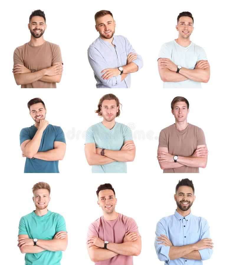 Collage with portraits of handsome men on white royalty free stock photo