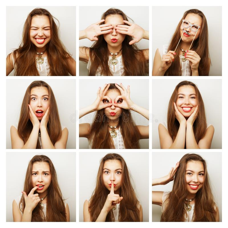 Collage of portraits of happy woman royalty free stock photography