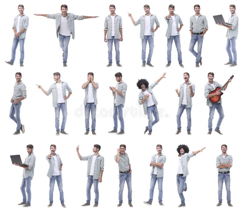 Collage of portraits of modern cheerful guy royalty free stock photography