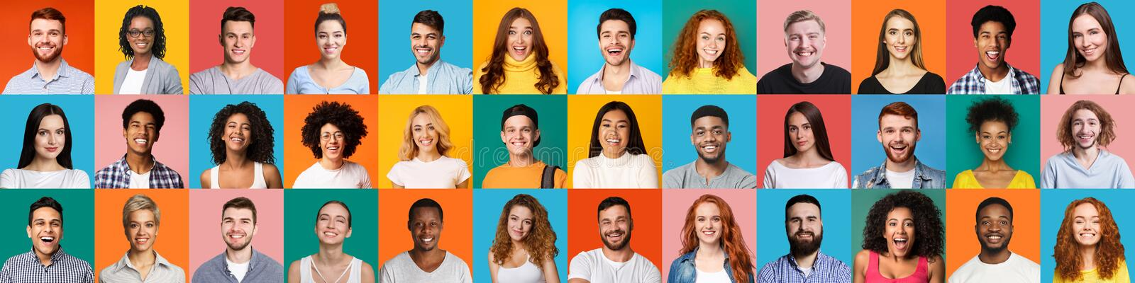 Collage of portraits of Multiethnic happy people royalty free stock image