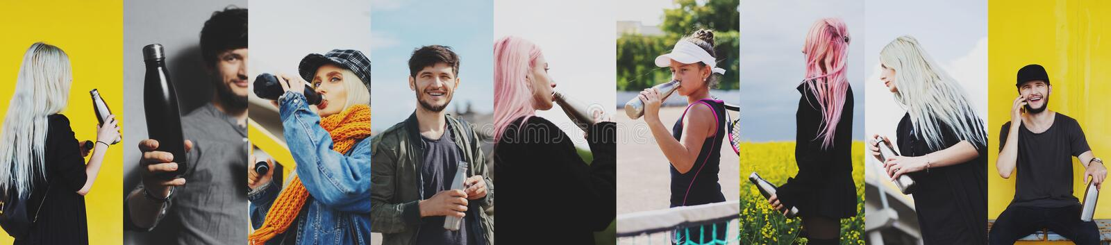 Collage of portraits, of people using reusable steel thermo water bottle. stock photo