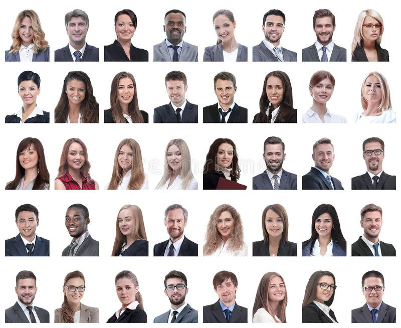 Collage of portraits of successful employees isolated on white. Background stock photo