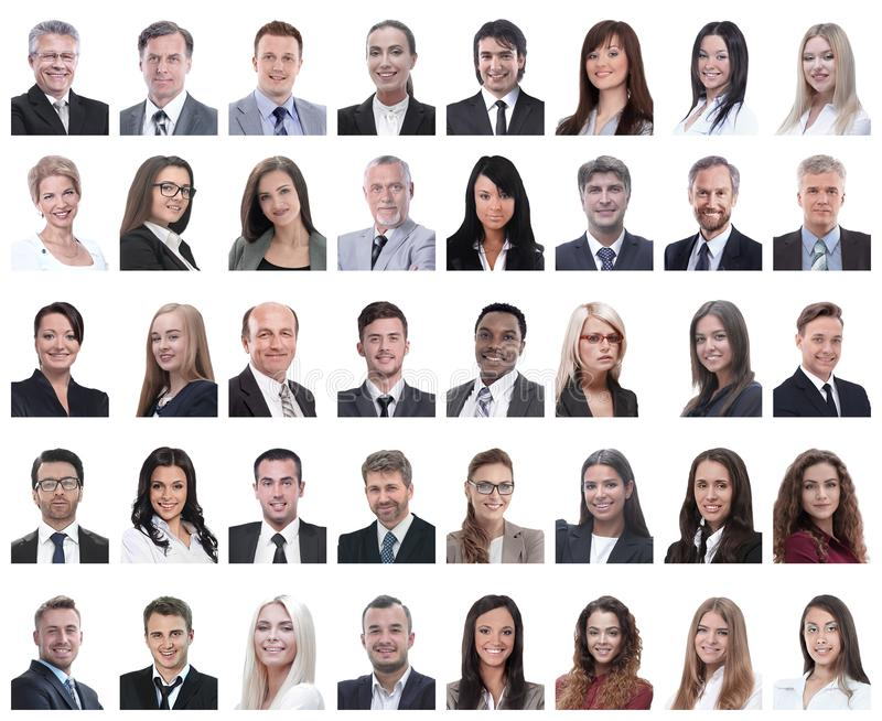 Collage of portraits of successful employees isolated on white stock image