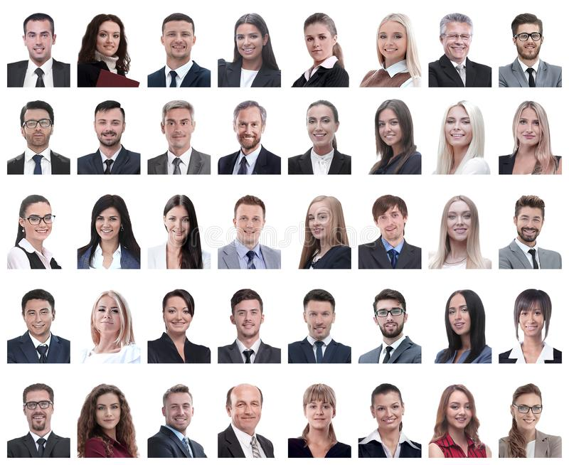 Collage of portraits of successful employees isolated on white royalty free stock photo