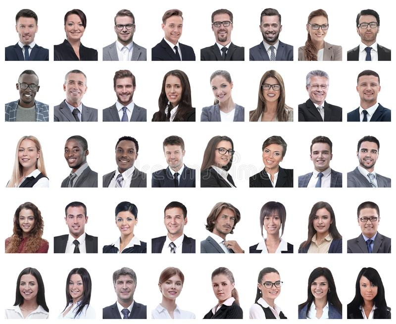 Collage of portraits of successful employees isolated on white royalty free stock images