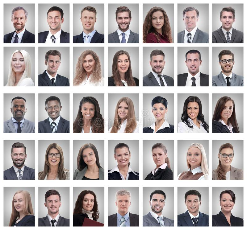 Collage of portraits of successful young businessmen. Isolated on white background stock photo
