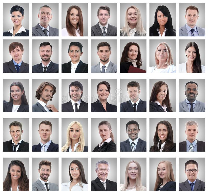 Collage of portraits of successful young businessmen. Isolated on white background stock photography