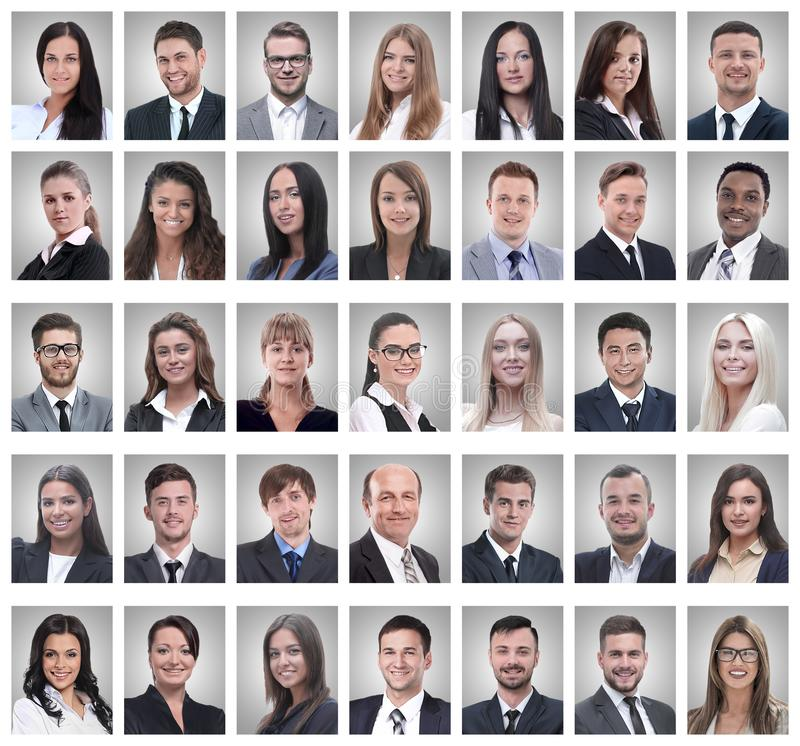 Collage of portraits of successful young businessmen royalty free stock images