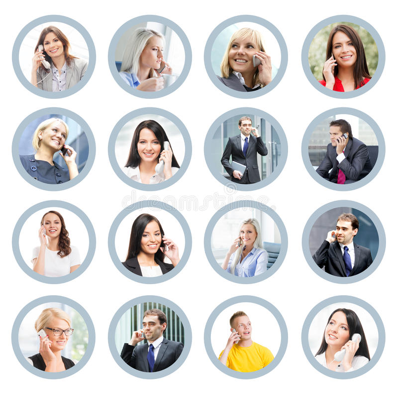 Collage of portraits of young business people. Businessman and businesswoman talking on the telephone. Online support, business, connectivity and communication stock photos