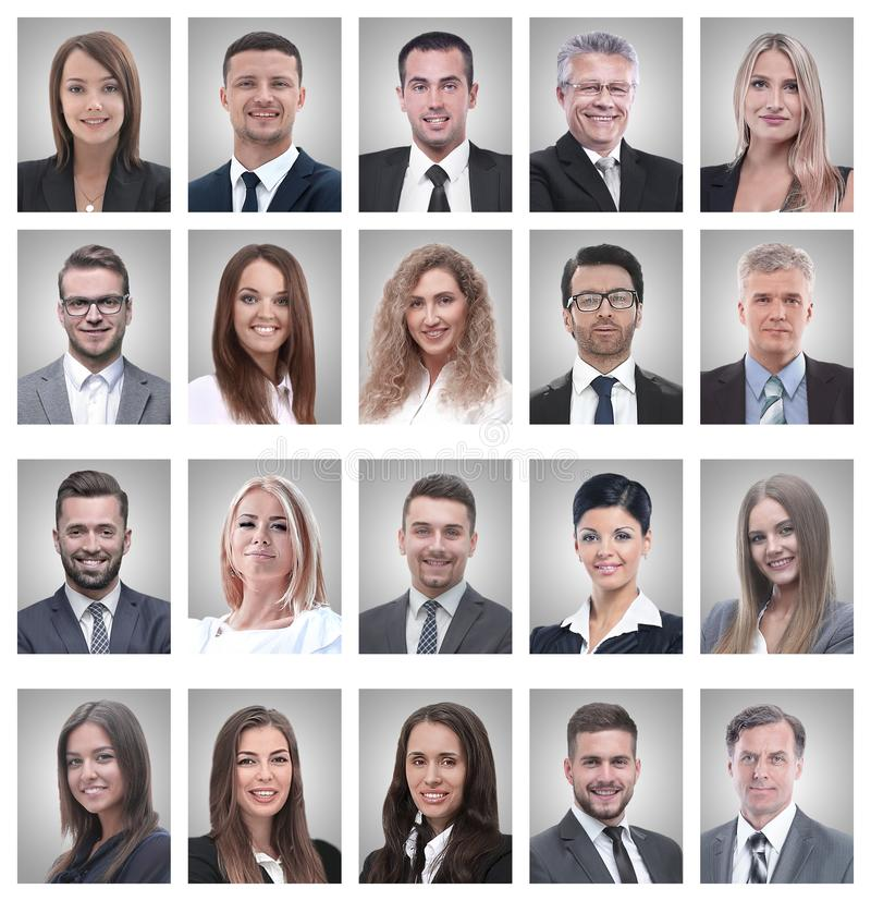 Collage of portraits of young businessmen and businesswoman. Isolated on white background royalty free stock images