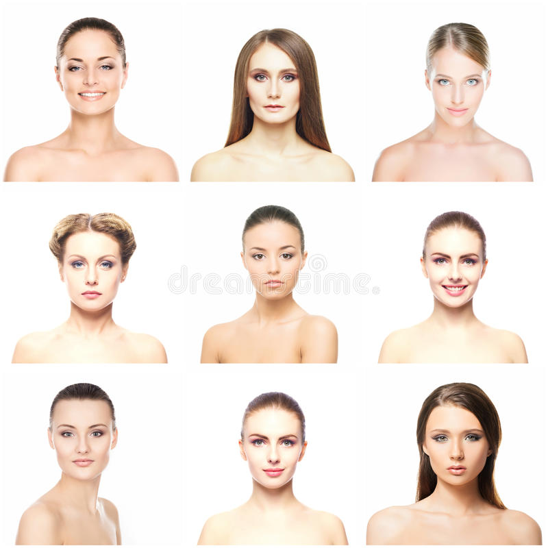 Collage of portraits of young women on white royalty free stock photos