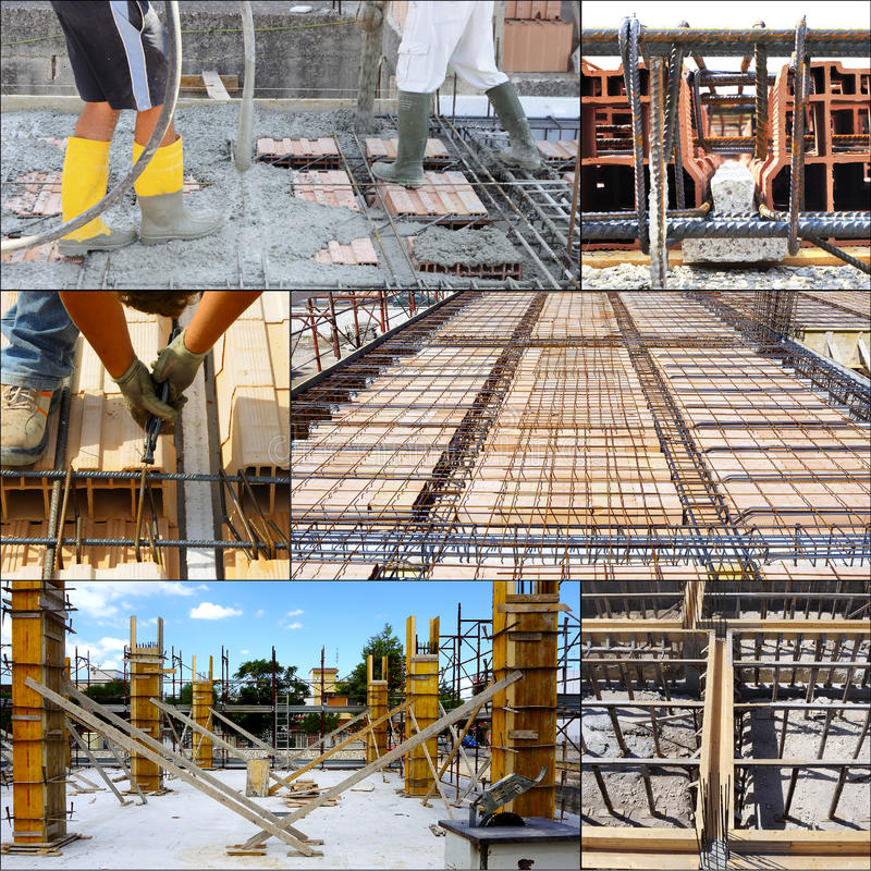 Collage of pouring concrete. On big floor construction on the construction site, with motion blur royalty free stock photos