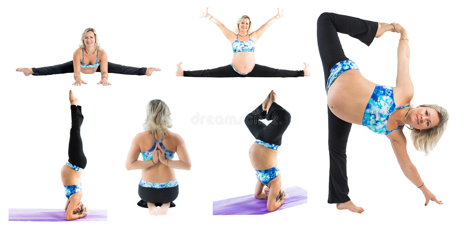 Collage of pregnant fitness woman make stretch on yoga and pilates pose on white background. The concept of Sport and Health stock photography
