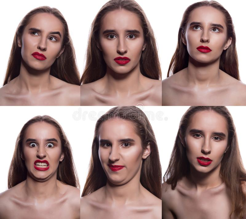 Collage of pretty brunette woman with different facial expressions. Woman with red lips posing on a white background stock photo