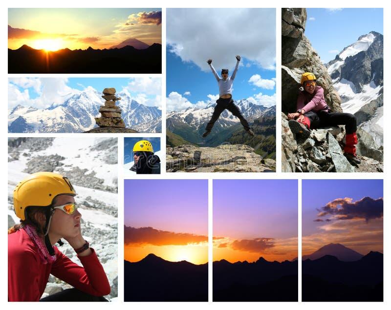 Collage - primo mattino Elbrus e viandanti immagini stock
