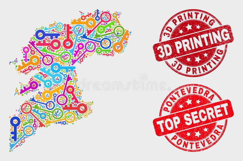 Collage of Protection Pontevedra Province Map and Scratched 3D Printing Stamp Seal. Safeguard Pontevedra Province map and stamps. Red round Top Secret and 3D vector illustration