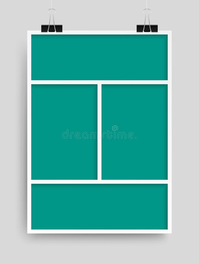 Collage quatre cadres, pièces de photos ou images illustration stock