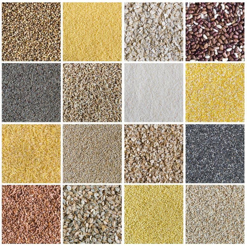Collage que consiste en diverso tipo de cereales y de semillas fotos de archivo libres de regalías