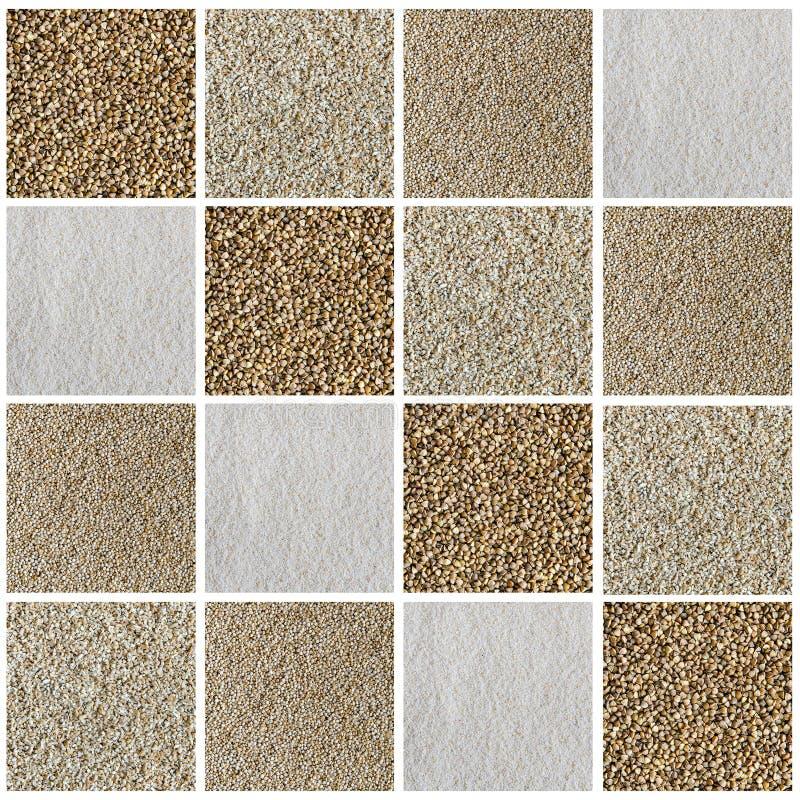 Collage que consiste en diverso tipo de cereales y de semillas imagenes de archivo