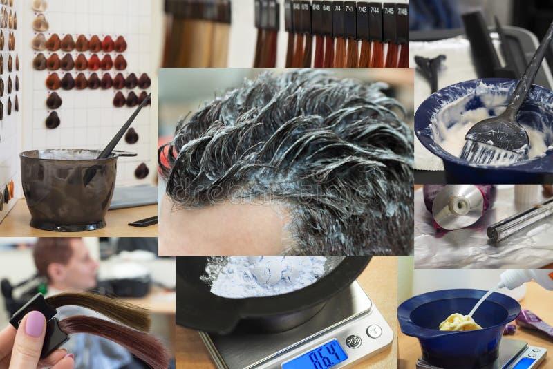 Collage que muestra fases de coloración del cabello del hombre en el salón de belleza fotografía de archivo