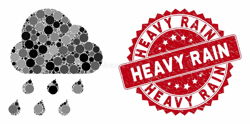 Collage Rain Cloud with Grunge Heavy Rain Seal ilustracji