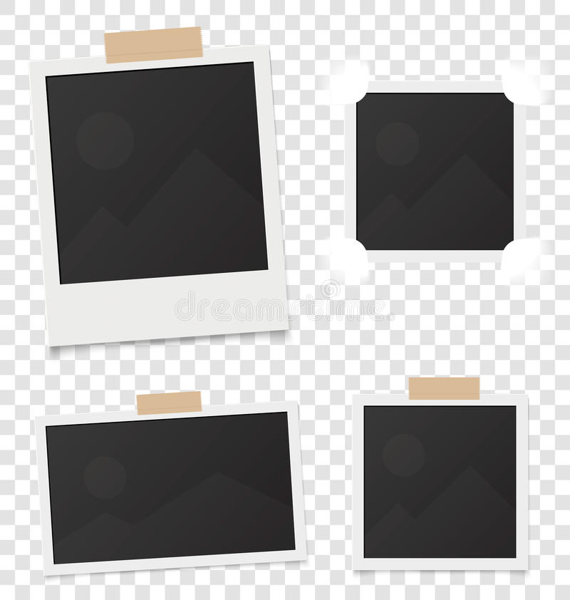 Collage of realistic blank instant photos isolated on sticky tape. Vector illustration set. Template retro photo design royalty free illustration