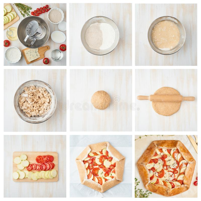 Collage, receta gradual Galette con la verdura fotografía de archivo
