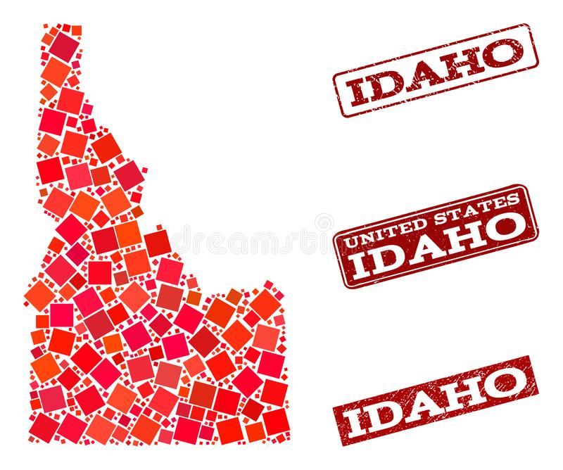 Mosaic Map of Idaho State and Scratched School Seal Composition. Mosaic puzzle map of Idaho State and grunge school seal stamp with ribbon. Vector map of Idaho royalty free illustration