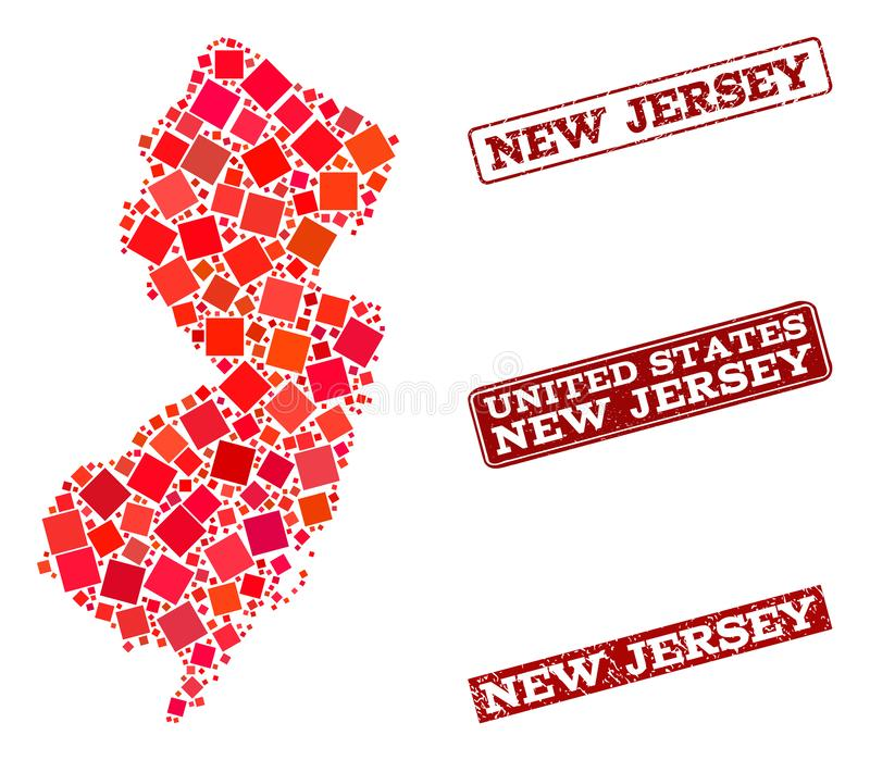 Mosaic Map of New Jersey State and Scratched School Seal Composition vector illustration