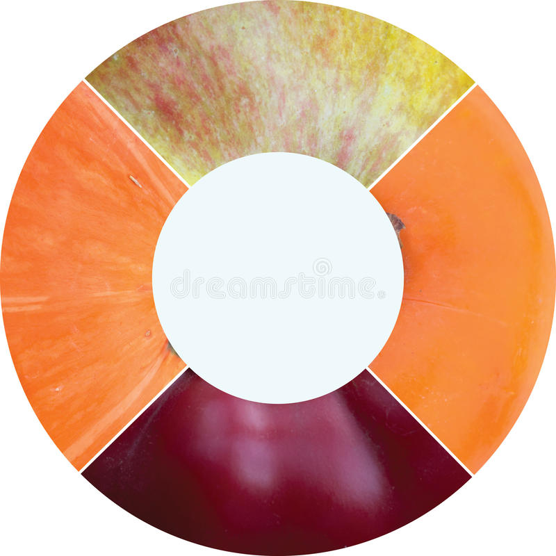 Collage redondo de la foto del círculo hecho de productos herbarios del verano imágenes de archivo libres de regalías